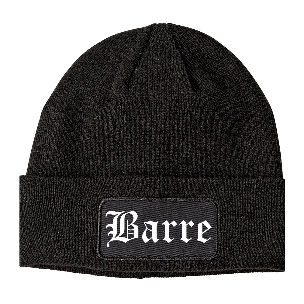 Barre Vermont VT Old English Mens Knit Beanie Hat Cap Black