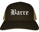Barre Vermont VT Old English Mens Trucker Hat Cap Brown