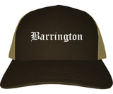 Barrington New Jersey NJ Old English Mens Trucker Hat Cap Brown