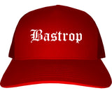 Bastrop Texas TX Old English Mens Trucker Hat Cap Red