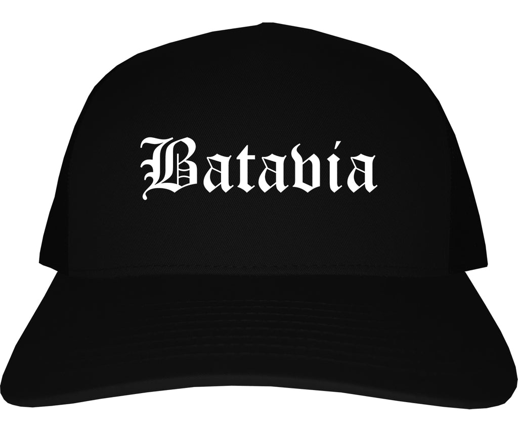 Batavia Illinois IL Old English Mens Trucker Hat Cap Black