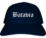 Batavia New York NY Old English Mens Trucker Hat Cap Navy Blue