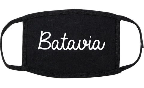 Batavia New York NY Script Cotton Face Mask Black
