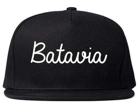 Batavia New York NY Script Mens Snapback Hat Black