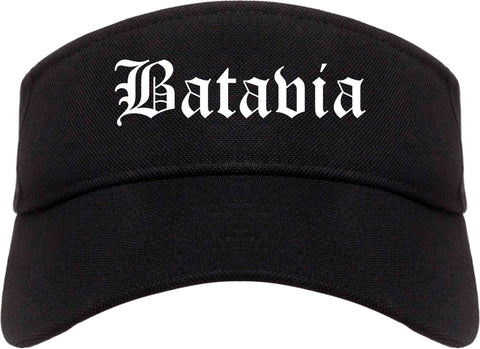 Batavia New York NY Old English Mens Visor Cap Hat Black