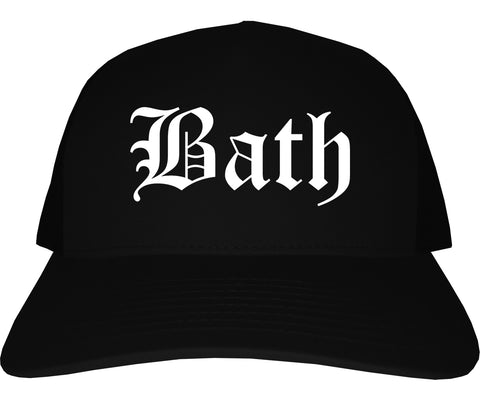 Bath Maine ME Old English Mens Trucker Hat Cap Black