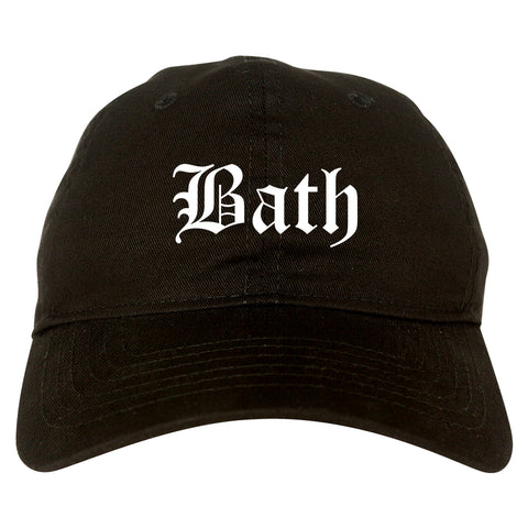 Bath New York NY Old English Mens Dad Hat Baseball Cap Black