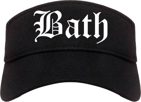Bath New York NY Old English Mens Visor Cap Hat Black