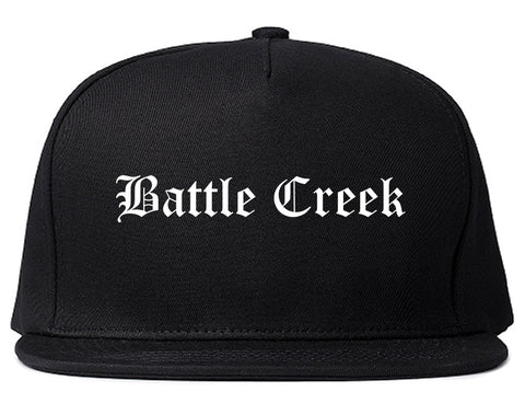Battle Creek Michigan MI Old English Mens Snapback Hat Black