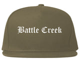 Battle Creek Michigan MI Old English Mens Snapback Hat Grey