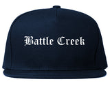 Battle Creek Michigan MI Old English Mens Snapback Hat Navy Blue