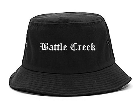 Battle Creek Michigan MI Old English Mens Bucket Hat Black