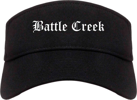 Battle Creek Michigan MI Old English Mens Visor Cap Hat Black