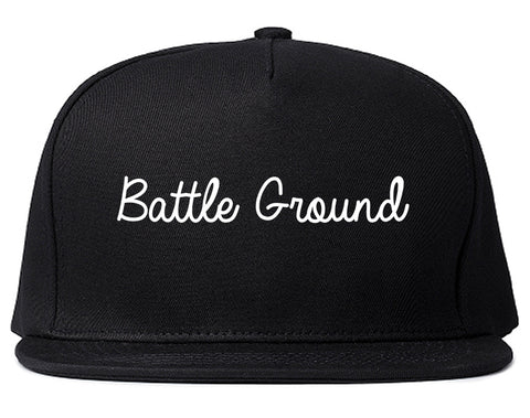 Battle Ground Washington WA Script Mens Snapback Hat Black