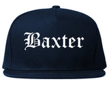 Baxter Minnesota MN Old English Mens Snapback Hat Navy Blue
