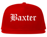 Baxter Minnesota MN Old English Mens Snapback Hat Red
