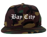 Bay City Texas TX Old English Mens Snapback Hat Army Camo