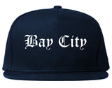 Bay City Texas TX Old English Mens Snapback Hat Navy Blue