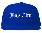 Bay City Texas TX Old English Mens Snapback Hat Royal Blue