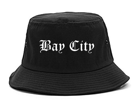 Bay City Texas TX Old English Mens Bucket Hat Black