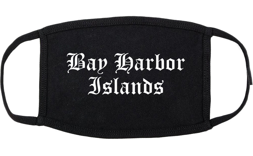 Bay Harbor Islands Florida FL Old English Cotton Face Mask Black