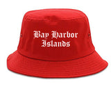Bay Harbor Islands Florida FL Old English Mens Bucket Hat Red