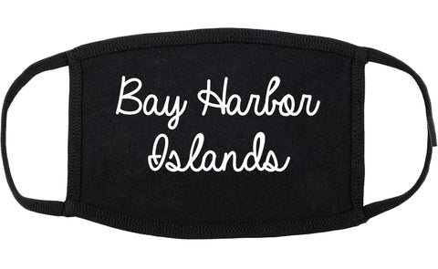 Bay Harbor Islands Florida FL Script Cotton Face Mask Black