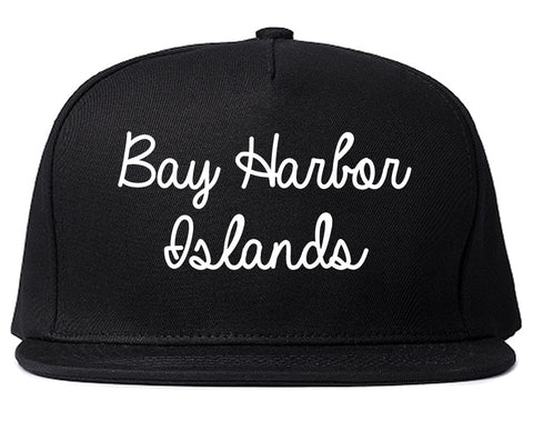 Bay Harbor Islands Florida FL Script Mens Snapback Hat Black