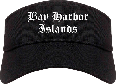 Bay Harbor Islands Florida FL Old English Mens Visor Cap Hat Black