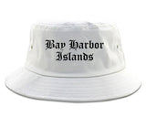 Bay Harbor Islands Florida FL Old English Mens Bucket Hat White