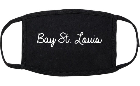 Bay St. Louis Mississippi MS Script Cotton Face Mask Black