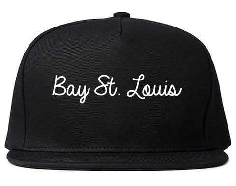 Bay St. Louis Mississippi MS Script Mens Snapback Hat Black