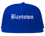 Baytown Texas TX Old English Mens Snapback Hat Royal Blue