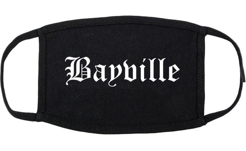 Bayville New York NY Old English Cotton Face Mask Black