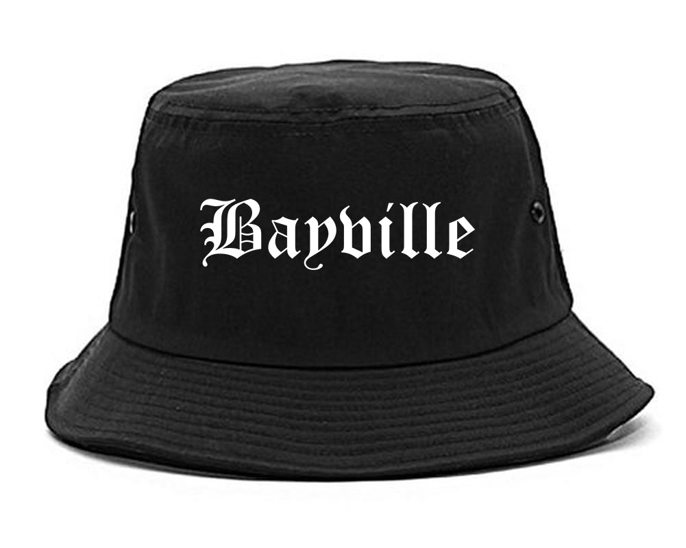 Bayville New York NY Old English Mens Bucket Hat Black