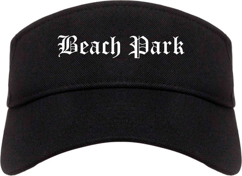 Beach Park Illinois IL Old English Mens Visor Cap Hat Black