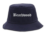 Beachwood Ohio OH Old English Mens Bucket Hat Navy Blue
