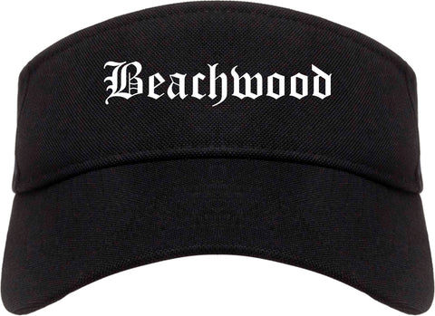 Beachwood Ohio OH Old English Mens Visor Cap Hat Black