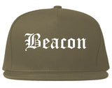 Beacon New York NY Old English Mens Snapback Hat Grey