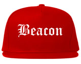 Beacon New York NY Old English Mens Snapback Hat Red
