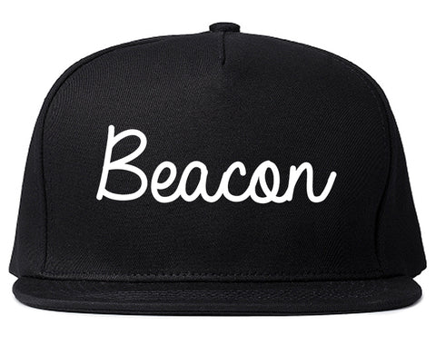 Beacon New York NY Script Mens Snapback Hat Black