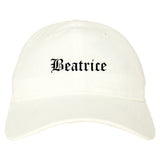 Beatrice Nebraska NE Old English Mens Dad Hat Baseball Cap White