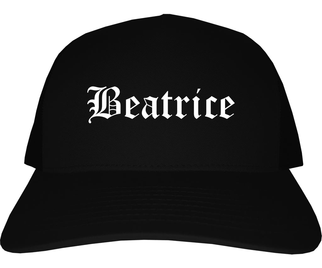Beatrice Nebraska NE Old English Mens Trucker Hat Cap Black