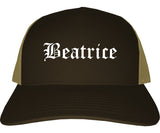 Beatrice Nebraska NE Old English Mens Trucker Hat Cap Brown