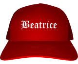 Beatrice Nebraska NE Old English Mens Trucker Hat Cap Red