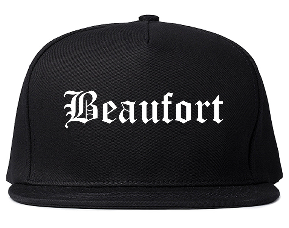 Beaufort South Carolina SC Old English Mens Snapback Hat Black