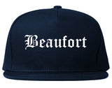 Beaufort South Carolina SC Old English Mens Snapback Hat Navy Blue