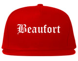 Beaufort South Carolina SC Old English Mens Snapback Hat Red
