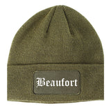 Beaufort South Carolina SC Old English Mens Knit Beanie Hat Cap Olive Green