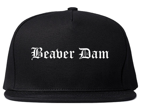Beaver Dam Wisconsin WI Old English Mens Snapback Hat Black